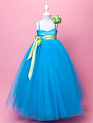A-Line Ball Gown Floor Length Flower Girl Dress - Tulle Sleeveless Spaghetti Straps by LAN TING BRIDE®