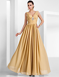 A-Line Princess V-neck Floor Length Chiffon Evening Dress with Draping by TS Couture®