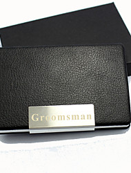 Groom Groomsman Zinc Alloy Leatherette Business Card Holders Wedding Anniversary Birthday Business