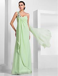 Bainha / coluna um ombro comprimento do chão amortecedor vestido de baile chiffon com trem watteau com apliques de ts couture®