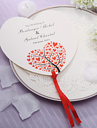 cheap -Personalized Heart Shaped Paper Hand Fan - Red Hearts(Set of 12)