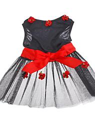 Chien Robe Vêtements pour Chien Mariage Floral / Botanique Noir Costume Pour les animaux domestiques