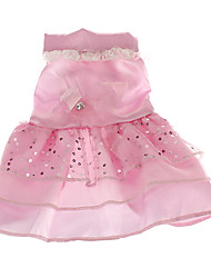 baratos -Cachorro Vestidos Roupas para Cães Lantejoula Branco Rosa claro Terylene Ocasiões Especiais Para animais de estimação Casamento