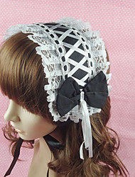 cheap -Lolita Jewelry Classic Lolita Dress Headwear Princess Women's Black Lolita Accessories Solid Bowknot Lace Headpiece Cotton
