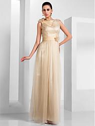 Skede / kolonne bateau hals gulv længde tulle aften kjole med drapering af ts couture®