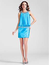 cheap -Sheath / Column Scoop Neck Short / Mini Chiffon Stretch Satin Cocktail Party Dress with Beading Draping by TS Couture®