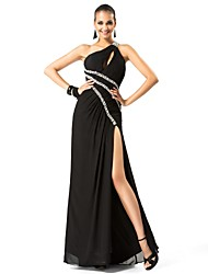 Sheath / Column One Shoulder Floor Length Chiffon Formal Evening Military Ball Dress with Beading Side Draping Split Front by TS Couture®