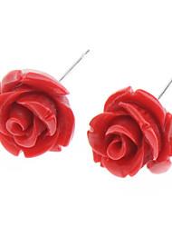 abordables -Mujer Pendientes cortos - Acero inoxidable Rosas, Flor Blanco / Amarillo / Rojo Para Diario
