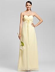 Sheath / Column Strapless Sweetheart Floor Length Chiffon Bridesmaid Dress with Bow(s) Criss Cross by LAN TING BRIDE®