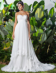 cheap -A-Line Sweetheart Chapel Train Tulle Custom Wedding Dresses with Beading Appliques Criss-Cross Ruched by LAN TING BRIDE®