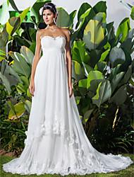 abordables -Corte en A Escote Corazón Capilla Tul Vestidos de novia hechos a medida con Cuentas / Apliques / Fruncido por LAN TING BRIDE®
