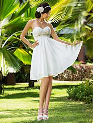 economico -Linea-A Da principessa A cuore Al ginocchio Chiffon Vestito da sposa con Perline Con applique Fascia / fiocco in vita A pieghe di LAN