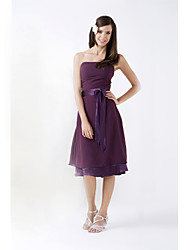 A-Line Princess Strapless Knee Length Chiffon Stretch Satin Bridesmaid Dress with Bow(s) Sash / Ribbon by LAN TING BRIDE®