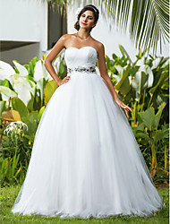 Ball Gown Sweetheart Floor Length Tulle Wedding Dress with Beading Criss-Cross by LAN TING BRIDE®