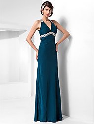 Sheath / Column Halter Floor Length Chiffon Formal Evening Military Ball Dress with Beading Appliques Draping by TS Couture®