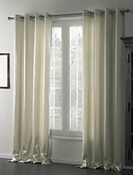 cheap -Two Panels Curtain Modern , Solid Linen/Cotton Blend Linen / Cotton Blend Material Curtains Drapes Home Decoration For Window