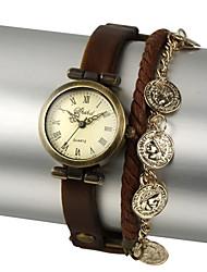 Недорогие -Жен. Модные часы Китайский Плитка Прочее Кожа Группа Наручные часы Черный Коричневый Зеленый