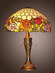billiga -Tiffany bord lampor med 2 lampor i blommor design GALVANISERA yta