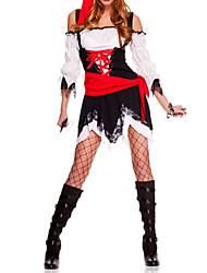 Недорогие -Sexy Cool черный и красный полиэстер Пиратская женский костюм (5 шт)
