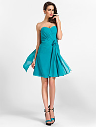 cheap -A-Line / Princess Strapless / Sweetheart Neckline Knee Length Chiffon Bridesmaid Dress with Draping / Criss Cross / Flower by