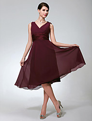cheap -A-Line V Neck Knee Length Chiffon Bridesmaid Dress with Ruched by LAN TING BRIDE®