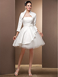 cheap -Princess Strapless Knee Length Satin Tulle Wedding Dress with Bow by LAN TING BRIDE®