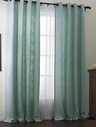 cheap -Two Panels Curtain Modern , Solid Poly / Cotton Blend Material Curtains Drapes Home Decoration For Window
