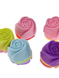 cheap -Rose Shaped Colorful Silicone Mini Cupcake Mould (20pcs)