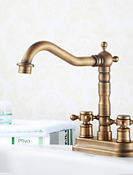 Antique Centerset Widespread with  Ceramic Valve Two Holes Two Handles Two Holes for  Antique Brass , Bathroom Sink Faucet