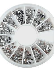 preiswerte -240PCS Nail Art Silber Mixed Shapes Acryl Strass