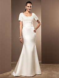cheap -Mermaid / Trumpet Scoop Neck Court Train Lace / Satin Made-To-Measure Wedding Dresses with Pearl / Ruched by LAN TING BRIDE®