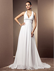 Plunging Neckline Court Train Chiffon Wedding Dress with Beading Sash / Ribbon Draped by LAN TING BRIDE®