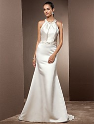 Mermaid / Trumpet Jewel Neck Sweep / Brush Train Satin Wedding Dress with Beading Draped by LAN TING BRIDE®