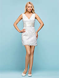 Sheath / Column V-neck Short / Mini Lace Wedding Dress with Beading Sash / Ribbon Button by LAN TING BRIDE®