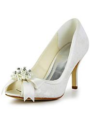 cheap -Women's Shoes Satin Stretch Satin Spring Summer Stiletto Heel Bowknot Imitation Pearl for Wedding White Black Ivory