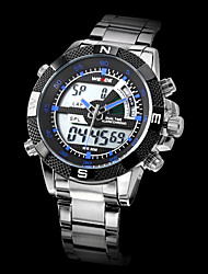 WEIDE® Brand Men's Dual Time Analog-Digital LCD Display Steel Band Luxury Wrist Watch Cool Watch Unique Watch
