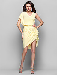 Sheath / Column V-neck Short / Mini Asymmetrical Chiffon Cocktail Party Dress with Side Draping by TS Couture®