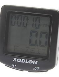 """Недорогие -1,5 """"ЖК-проводной серебристых велосипед компьютер / спидометр - черный"""