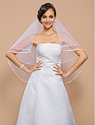 One-tier Ribbon Edge Wedding Veil Elbow Veils With Pearls 55.12 in (140cm) Tulle A-line, Ball Gown, Princess, Sheath/ Column, Trumpet/