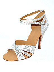 cheap -Women's Latin Shoes / Ballroom Shoes Leatherette Sandal / Heel Buckle Customizable Dance Shoes Silver / Silver