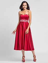 A-Line Princess Strapless Sweetheart Tea Length Satin Bridesmaid Dress with Beading Embroidery by LAN TING BRIDE®