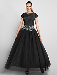 cheap -Ball Gown / Princess Jewel Neck Ankle Length Taffeta / Tulle Little Black Dress Prom / Formal Evening Dress with Appliques / Side Draping by TS Couture®
