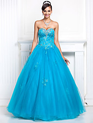 cheap -A-Line Princess Strapless Sweetheart Floor Length Tulle Prom Formal Evening Quinceanera Sweet 16 Dress with Beading Appliques Crystal