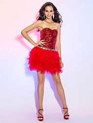 cheap -A-Line Princess Sweetheart Short / Mini Tulle Sequined Cocktail Party Prom Dress with Crystal Detailing Sequins by TS Couture®