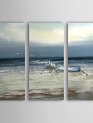 Hand-Painted Landscape Abstract Landscape Horizontal Three Panels Canvas Oil Painting For Home Decoration