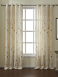 cheap -Two Panels Curtain Modern , Leaf Living Room Linen/Polyester Blend Material Curtains Drapes Home Decoration For Window