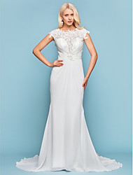 Mermaid / Trumpet Jewel Neck Court Train Chiffon Wedding Dress with Beading Appliques Side-Draped by LAN TING BRIDE®