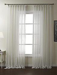 cheap -Rod Pocket Grommet Top Tab Top Double Pleat Two Panels Curtain Modern, Jacquard Stripe Polyester Material Sheer Curtains Shades Home
