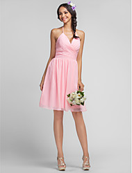 Sheath / Column Halter V-neck Knee Length Chiffon Bridesmaid Dress with Criss Cross by LAN TING BRIDE®