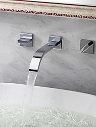 economico -Moderno Montaggio su parete Cascata Valvola in ceramica Tre Due maniglie Tre fori Cromo , Lavandino rubinetto del bagno